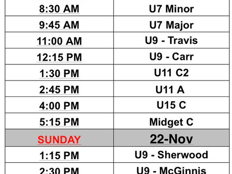 Updated schedule!