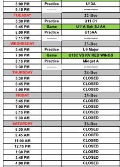 First week Schedule: