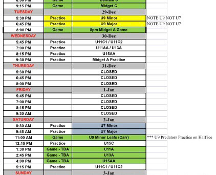 Second Week Schedule: