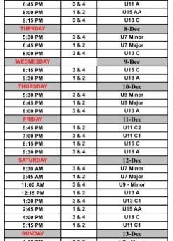Weekly Schedule: