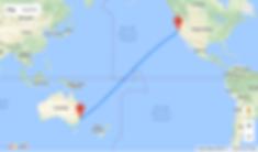 Australia to USA tour flight path