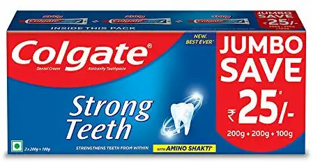 Colgate Strong Teeth Anticavity Toothpaste with Amino Shakti-500g (200+200+100)