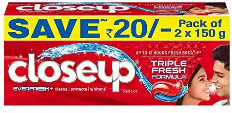 Closeup Ever Fresh Red Hot Anti Germ Gel Toothpaste 2x150 g, Save Rs. 20