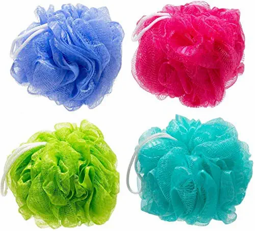 Round Scrub Bath Sponge Loofah for Men and Women, Random Color, Pack of 5