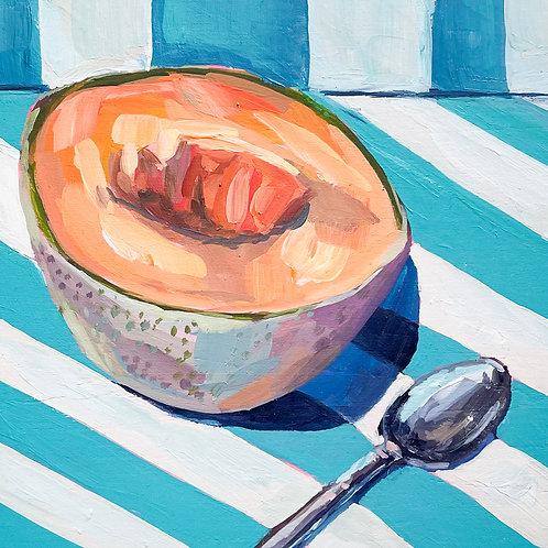 """Cantaloupe & Spoon"" Original Acrylic Painting"