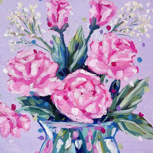 """Blooming Roses"" Original Acrylic Painting"