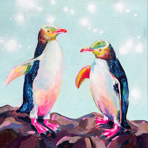 """""""Yellow Eyed Penguins"""" Original Acrylic Painting"""