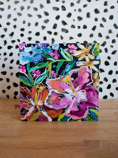 """Midnight Flowers"" Original Acrylic Painting"