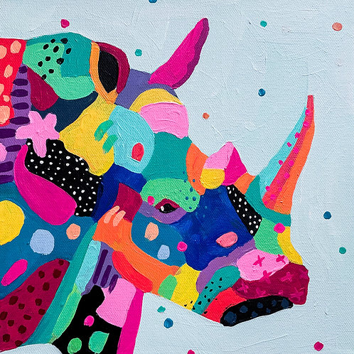 """Patchwork Rhino"" Original Acrylic Painting"
