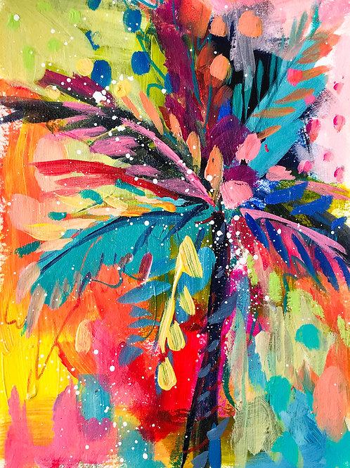 """Palm Study no. 2"" Original Mixed Media Painting"