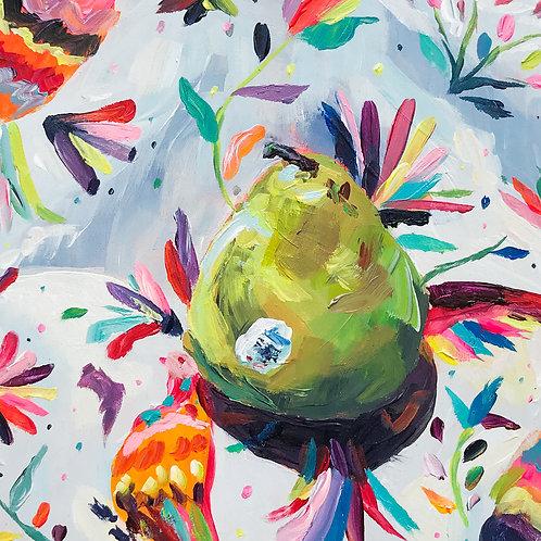 """Patterns & Pears"" Original Acrylic Painting"