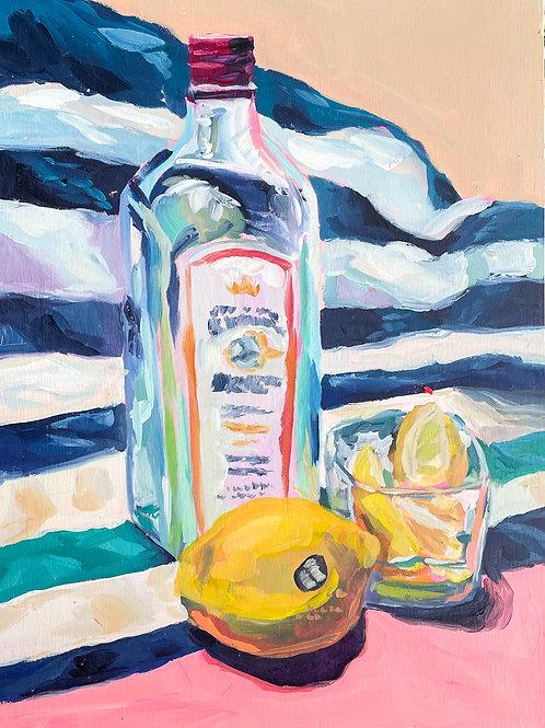 """Lemons & Gin"" Original Acrylic Painting"