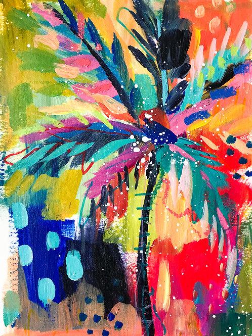 """Palm Study no. 3"" Original Mixed Media Painting"