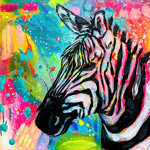 """If Lisa Frank Had A Pet Zebra"" Original Acrylic Painting"
