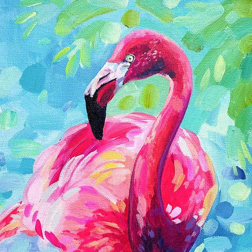 """Flouncy The Flamingo"" Original Acrylic Painting"
