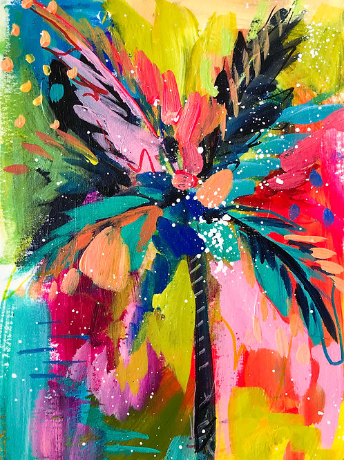 """Palm Study no. 4"" Original Mixed Media Painting"