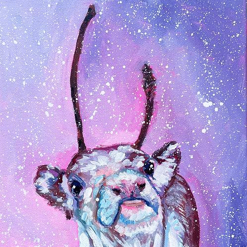 """""""Snow Cow"""" Original Acrylic Painting"""