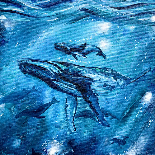 """""""Blue Whales"""" Original Acrylic Painting"""