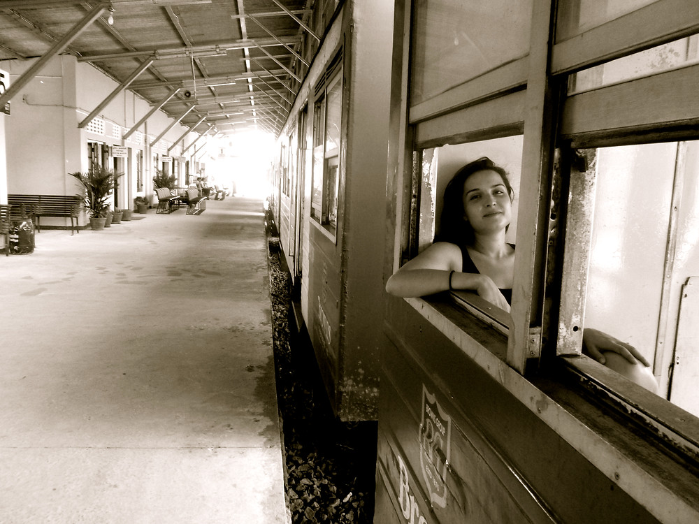 Boarding a train in Sri Lanka