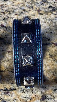 Silver Studded, Blue Double Stitch