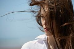 Wind blown hair