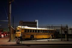 School bus night time Los Angeles