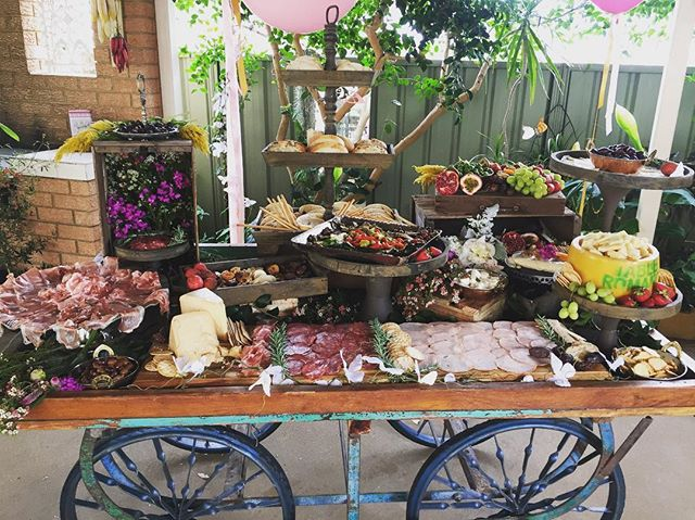 Rain hail or heatwave , nothing is going to stop us .  This beautiful grazing table was set up for a
