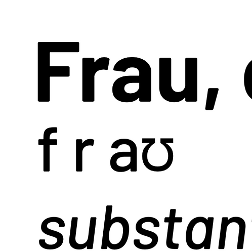 """Frau"" definition PDF (black writing)"
