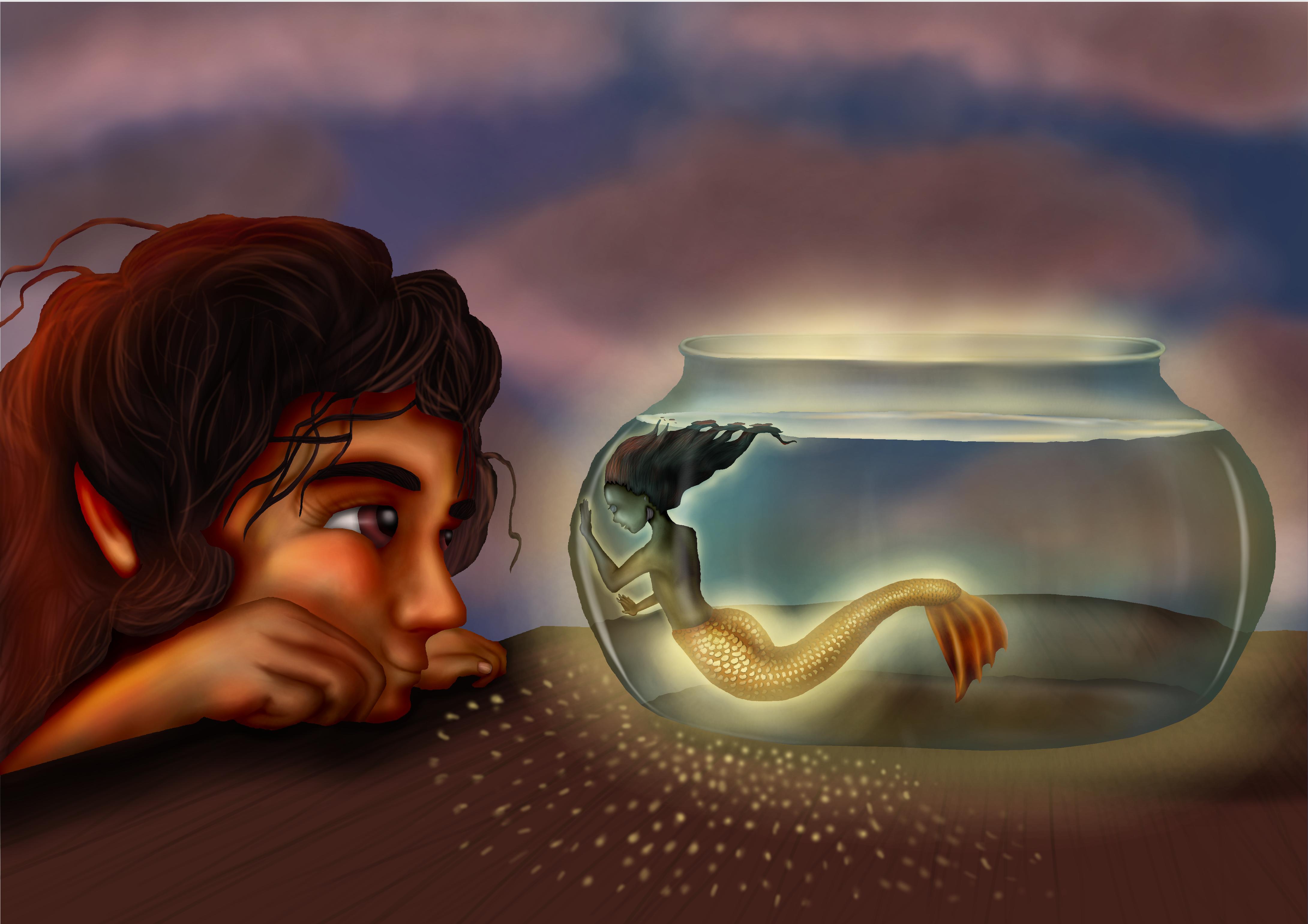 Mini sereia em aquário