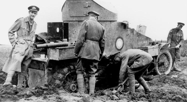 RNAS armoured car stuck in the mud WW1