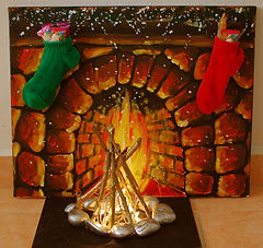 Lighted chimney for holiday workshops