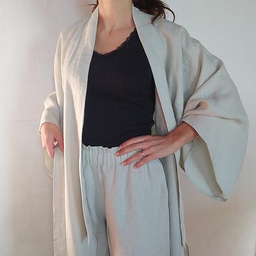 kimono sirius lin, peignoir, ostara atelier, créations éthiques, vêtement écoresponsable, mode durable, marque française