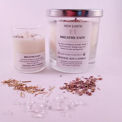"""""""Breathe Easy"""" Crystal Reiki Soy Candle"""