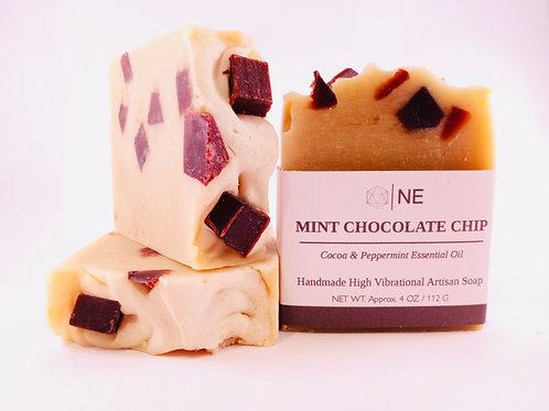 "Handcrafted Artisan Soap ""Mint Chocolate Chip"""