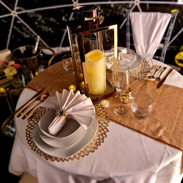 Gold Themed Dining Expieriance For Two