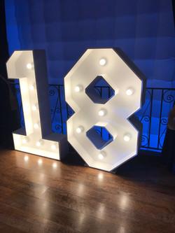 4ft light up number 18