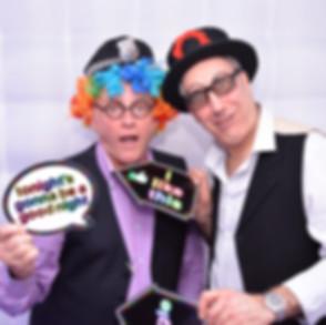 2 Men wearing props enjoying the photo booth at a Bar Mitzvah