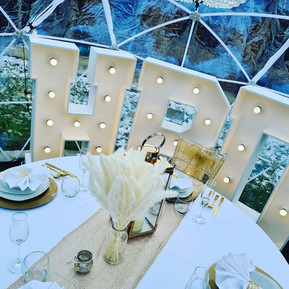 Dining Set Up In Gold For 4 With 4ft Light Up HBD