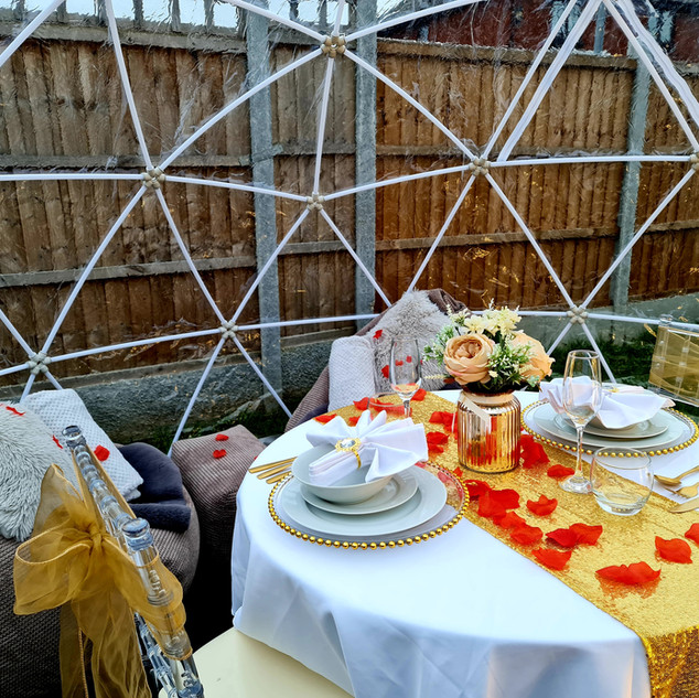 Valentines Dining Set Up For Two In Gold