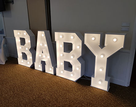 4 foot light up letters spelling Baby