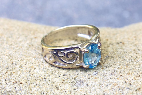 Swiss Blue Topaz (5x7) Simple Filigree Ring - Sterling