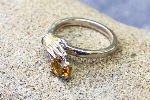 Citrine (5x7) Hand-Holding Stone Ring - Sterling