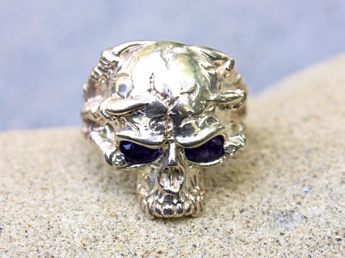 Blue Sapphire (4x6) Half-Skull with Claw Ring - Sterling