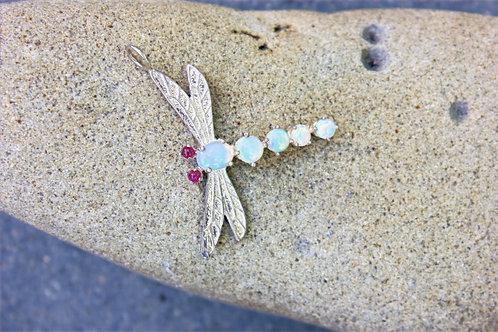 Opal & Ruby Dragonfly Pendant