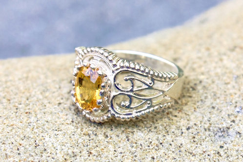 Yellow Sapphire (5x7) Fancy Filigree Ring - Sterling