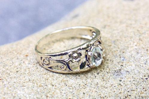 Aquamarine (4x6) Small Flower Filigree Ring