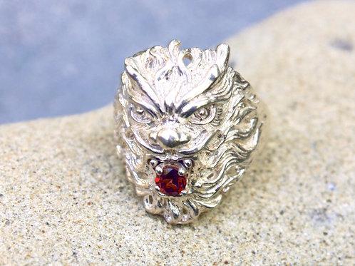 Garnet (4mm) Lion Ring - Sterling