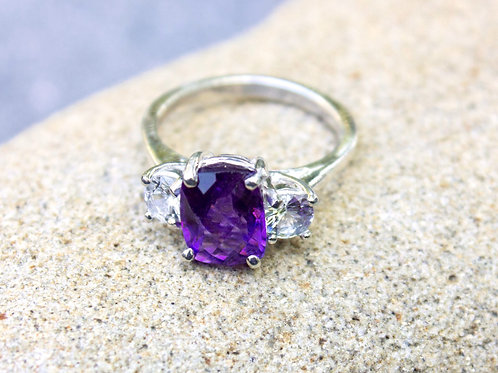 Amethyst (5x7) & Simple 3-Stone Ring with Diamonds
