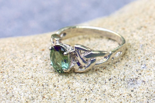 Teal Tourmaline (6x9) Celtic-Cut Ring - Sterling