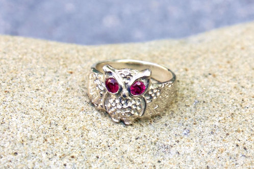 Owl Ring With Two Rubies (3mm) for Eyes